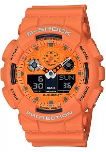 Đồng Hồ Nam Casio G Shock GA-100RS-4A Dây Nhựa Màu Cam - Chống Từ - Chống Nước 200m,Kích thước (H x W x D): 55 x 51,2 x 16,9 mm, Tuổi thọ pin: khoảng 2 năm,Hẹn giờ (đơn vị đặt: 1 phút, cài đặt tối đa: 24 giờ, tính bằng đơn vị 1 giây, tự động lặp lại).