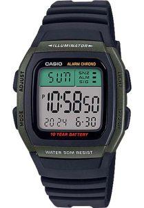 Đồng Hồ Nam Casio W-96H-3AV Dây Nhựa Trẻ Trung tuổi thọ pin 10 năm, chống nước 50 mét, chế độ giờ kép, đền nền led, mặt kính nhựa chống va đập, đồng hồ bấm giờ, Lịch hoàn toàn tự động (đến năm 2099)