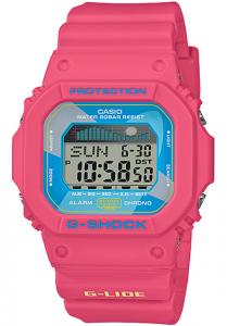 Đồng Hồ Nam Casio G Shock GLX-5600VH-4DF Dây Nhựa màu hồng - Mặt Vuông - Đồ Thị Thuỷ Triều, Kích thước (H x W x D): 46,7 x 43,2 x 12,7 mm,Đa báo thức 3 (chỉ có một chức năng báo lại),Lịch tự động đầy đủ