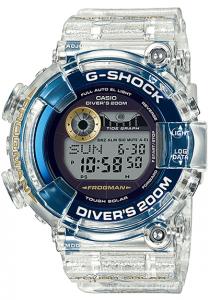 Đồng Hồ Nam Casio G Shock GF-8251K-7DR Dây Nhựa Trong Màu Trắng - Pin Năng Lượng Mặt Trời, Kích thước (H x W x D): 52 x 50.3 x 18 mm, Không thấm nước cho lặn 200m ISO,5 chế độ báo giờ hàng ngày (với 1 chế độ báo lặp).
