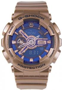 Đồng Hồ Nam Casio G Shock GMA-S110GD-2ADR Dây Mạ Vàng Hồng - Nền Mặt Màu Xanh,49 x 45.9 x 15.8 mm, chống nước 200m,5 chế độ báo giờ hàng ngày (với 1 chế độ báo lặp),Tín hiệu thời gian hàng giờ,Lịch hoàn toàn tự động.