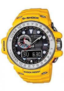 Đồng Hồ Nam Casio G Shock GULFMASTER GWN-1000-9ADR Dây Nhựa Màu Vàng - Pin Năng Lượng Mặt Trời, có nhiệt kế, la bàn, cao độ kế, khí áp kế, Kích thước vỏ : 44,9×55,8×16,2mm,5 chế độ báo giờ hàng ngày,Tín hiệu thời gian hàng giờ.