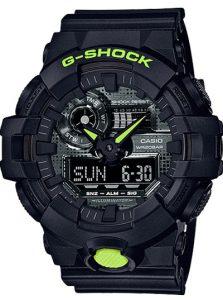 Đồng hồ Casio G Shock GA-700DC-1Adành cho nam dây nhựa màu đen, chống nước 200m, tuổi thọ pin 5 năm, bảo hành máy và pin 5 năm, size mặt 53,4mm, 31 múi giờ, 5 chế độ báo thức, giao hàng miễn phí trên toàn quốc